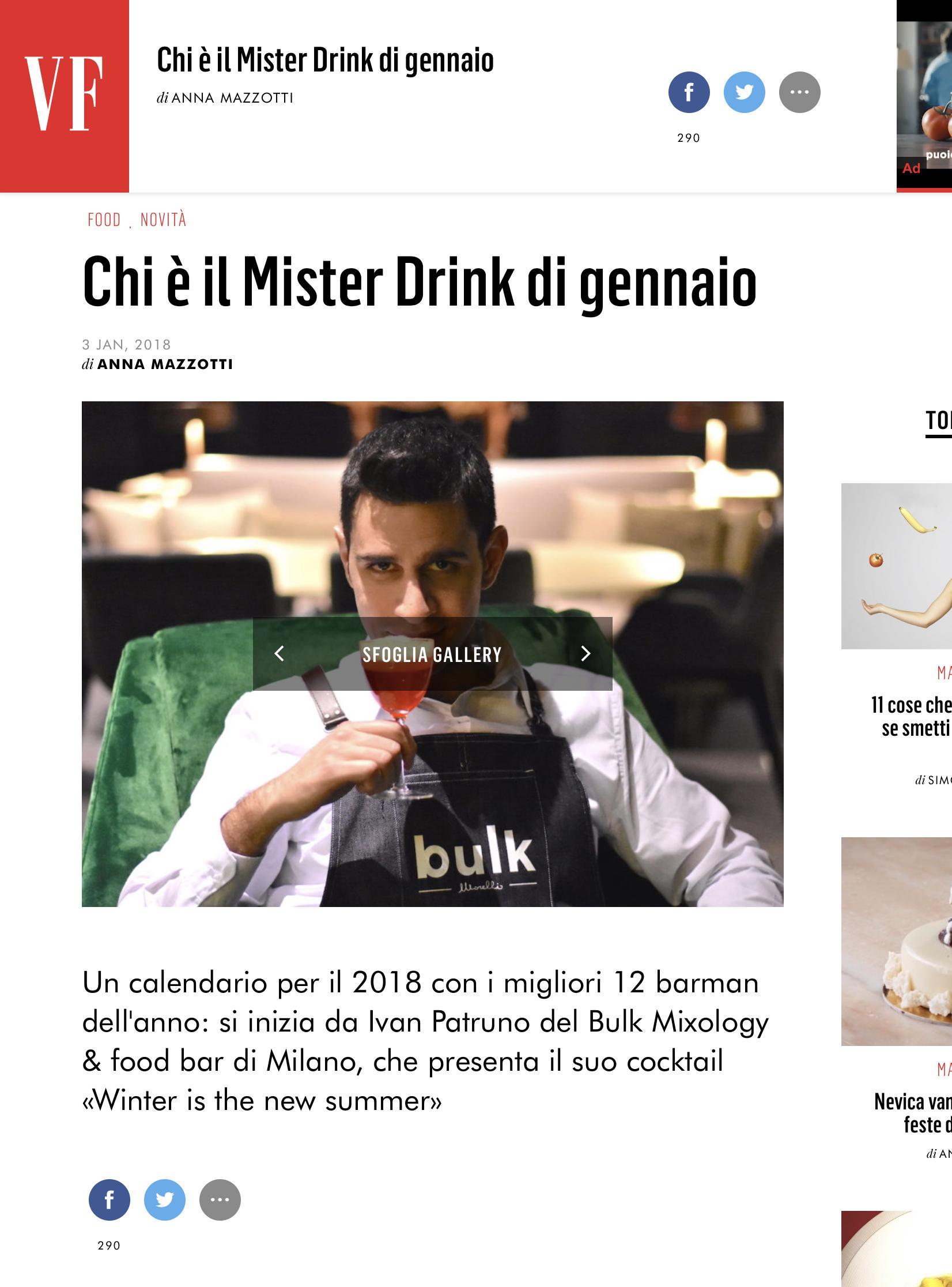 Mister drink di gennaio bulk mixology food bar